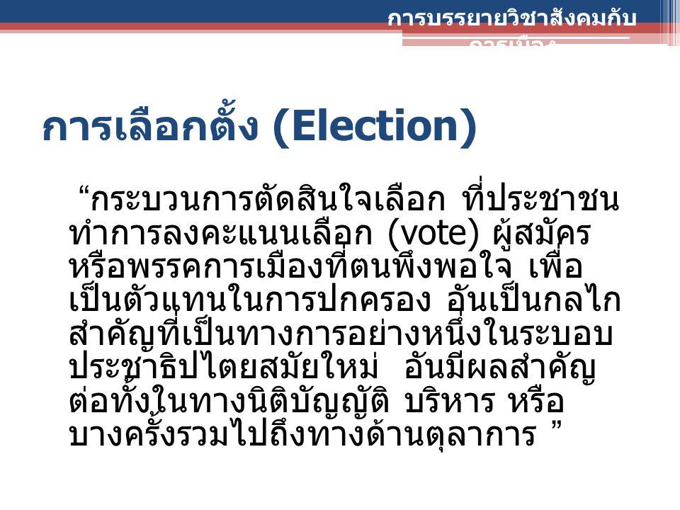 """การเลือกตั้ง (Election) """" กระบวนการตัดสินใจเลือก ที่ประชาชน ทำการลงคะแนนเลือก (vote) ผู้สมัคร หรือพรรคการเมืองที่ตนพึงพอใจ เพื่อ เป็นตัวแทนในการปกครอง"""