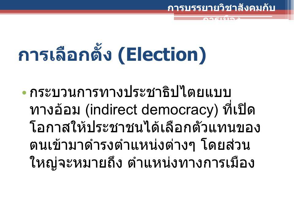 การเลือกตั้ง (Election) กระบวนการทางประชาธิปไตยแบบ ทางอ้อม (indirect democracy) ที่เปิด โอกาสให้ประชาชนได้เลือกตัวแทนของ ตนเข้ามาดำรงตำแหน่งต่างๆ โดยส
