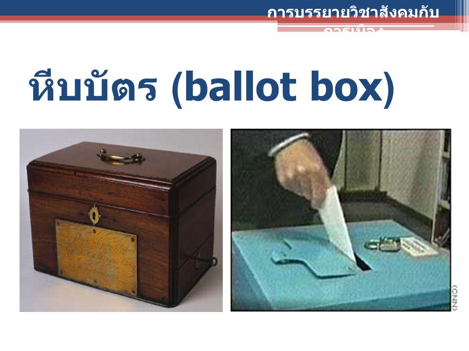 หีบบัตร (ballot box) การบรรยายวิชาสังคมกับ การเมือง