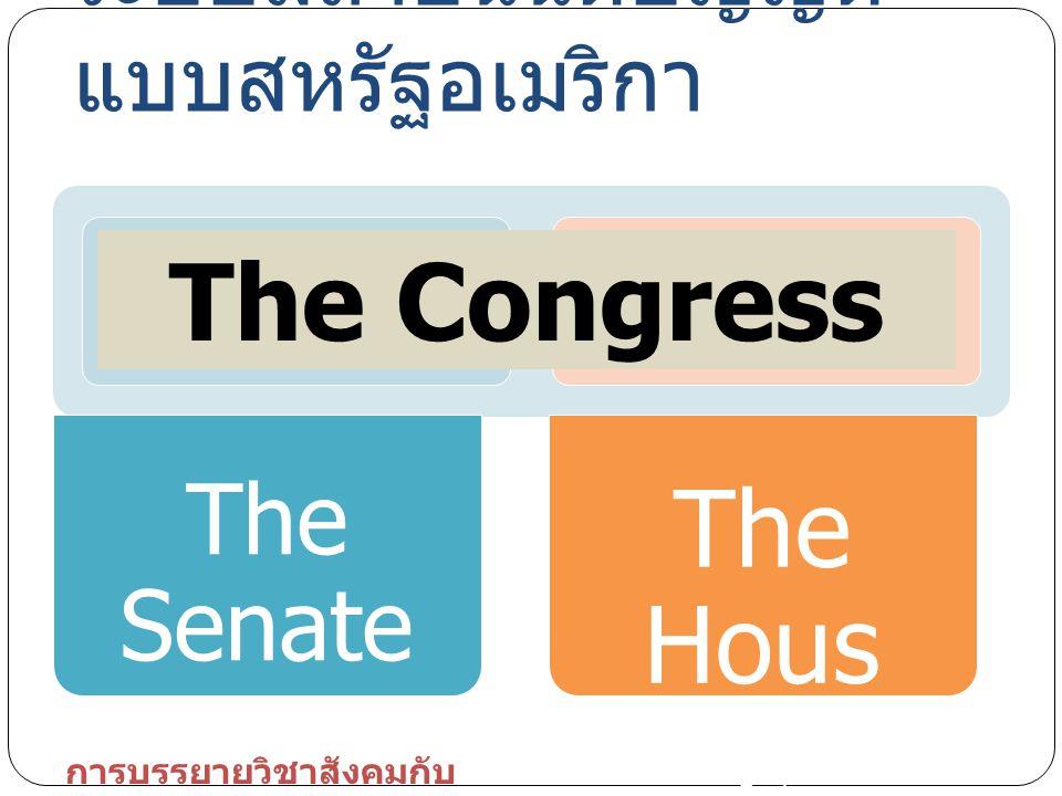 The Senate The Hous e ระบบสถาบันนิติบัญญัติ แบบสหรัฐอเมริกา The Congress การบรรยายวิชาสังคมกับ การเมือง