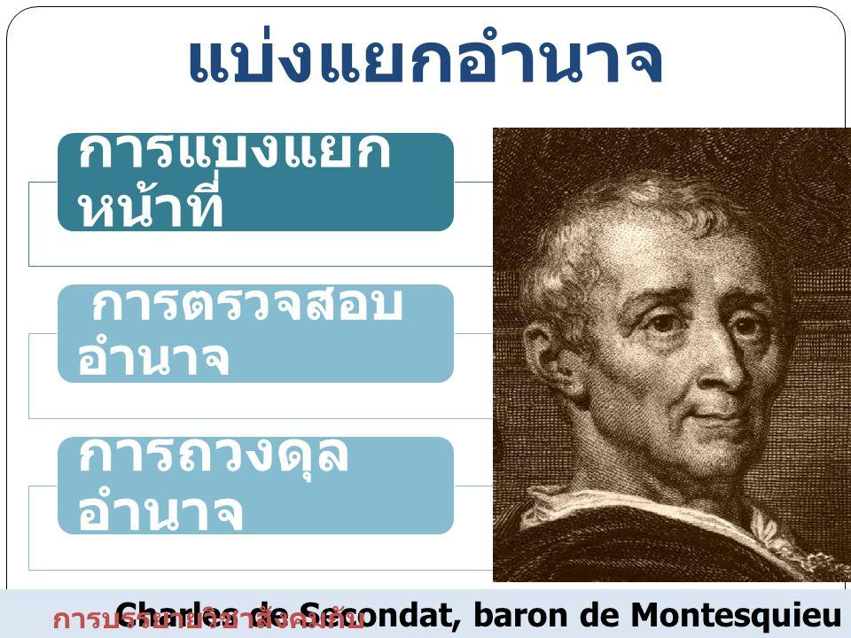 Charles de Secondat, baron de Montesquieu แนวคิดเรื่องการ แบ่งแยกอำนาจ การแบ่งแยก หน้าที่ การตรวจสอบ อำนาจ การถ่วงดุล อำนาจ การบรรยายวิชาสังคมกับ การเ