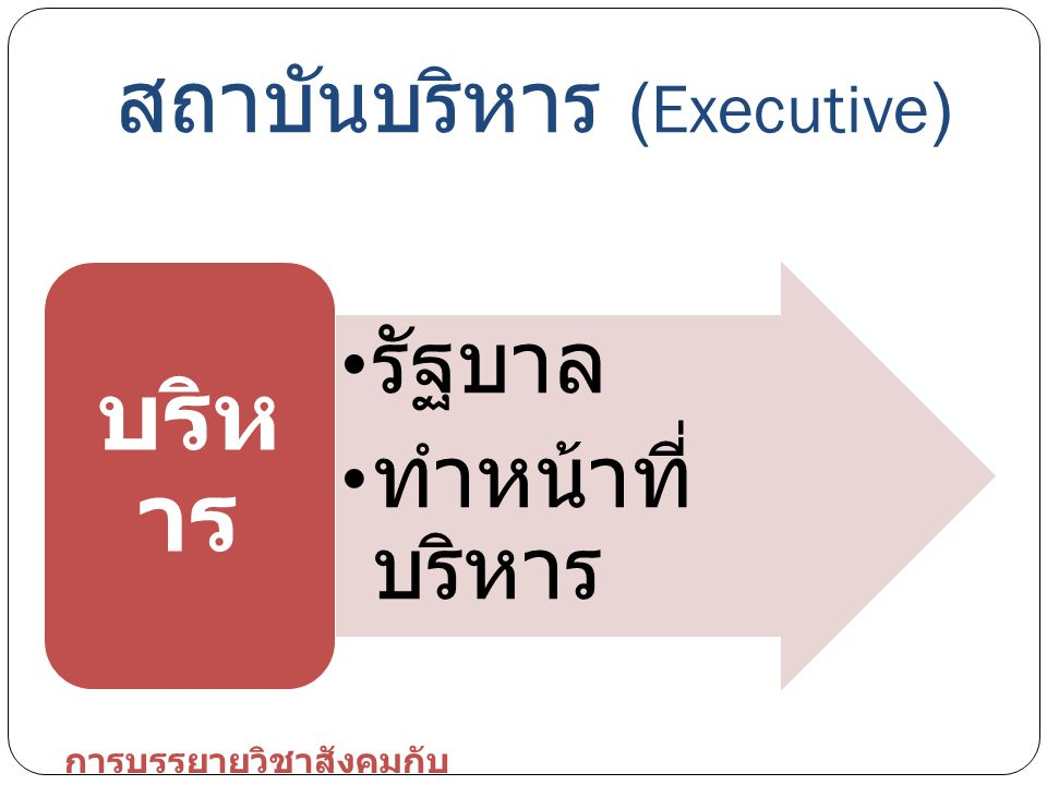สถาบันบริหาร (Executive) รัฐบาล ทำหน้าที่ บริหาร บริห าร การบรรยายวิชาสังคมกับ การเมือง
