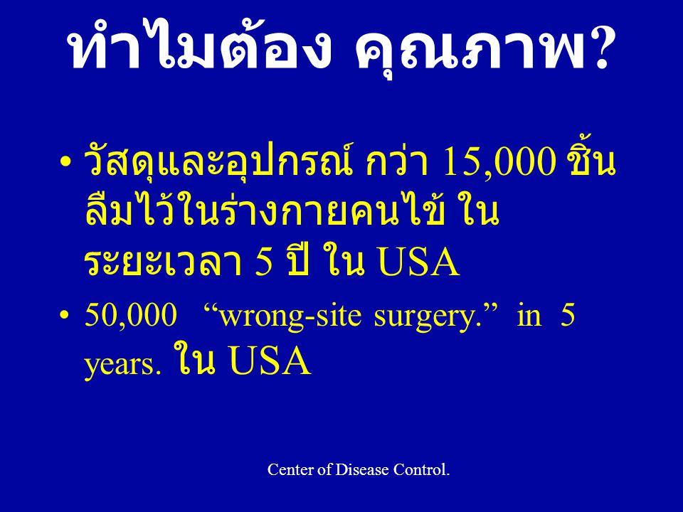 """ทำไมต้อง คุณภาพ ? วัสดุและอุปกรณ์ กว่า 15,000 ชิ้น ลืมไว้ในร่างกายคนไข้ ใน ระยะเวลา 5 ปี ใน USA 50,000 """"wrong-site surgery."""" in 5 years. ใน USA Center"""