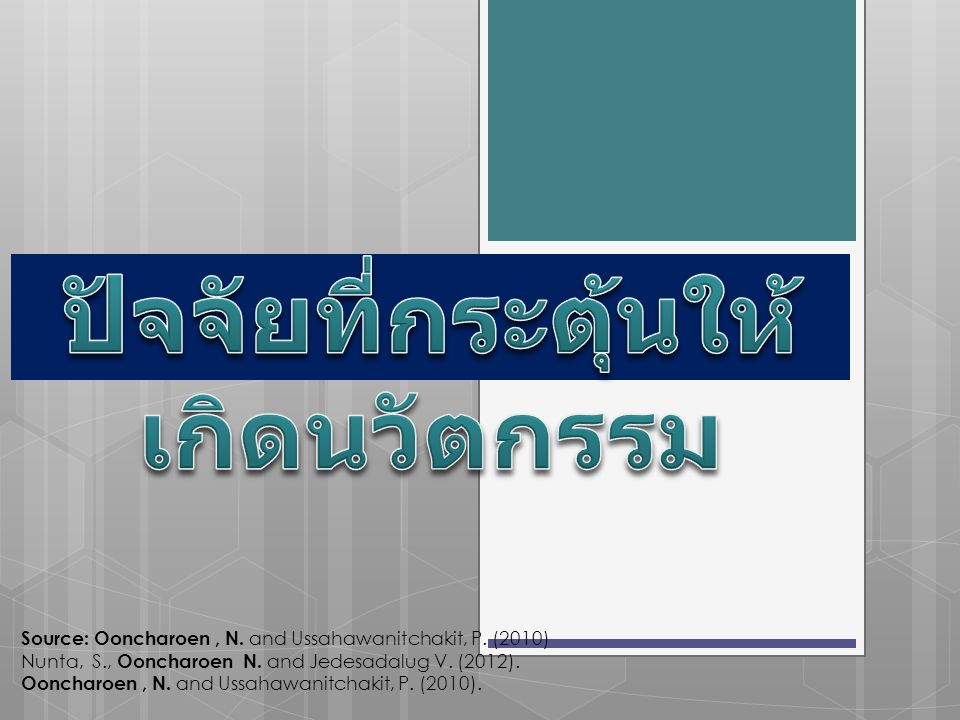 Source: Ooncharoen, N.and Ussahawanitchakit, P. (2010) Nunta, S., Ooncharoen N.