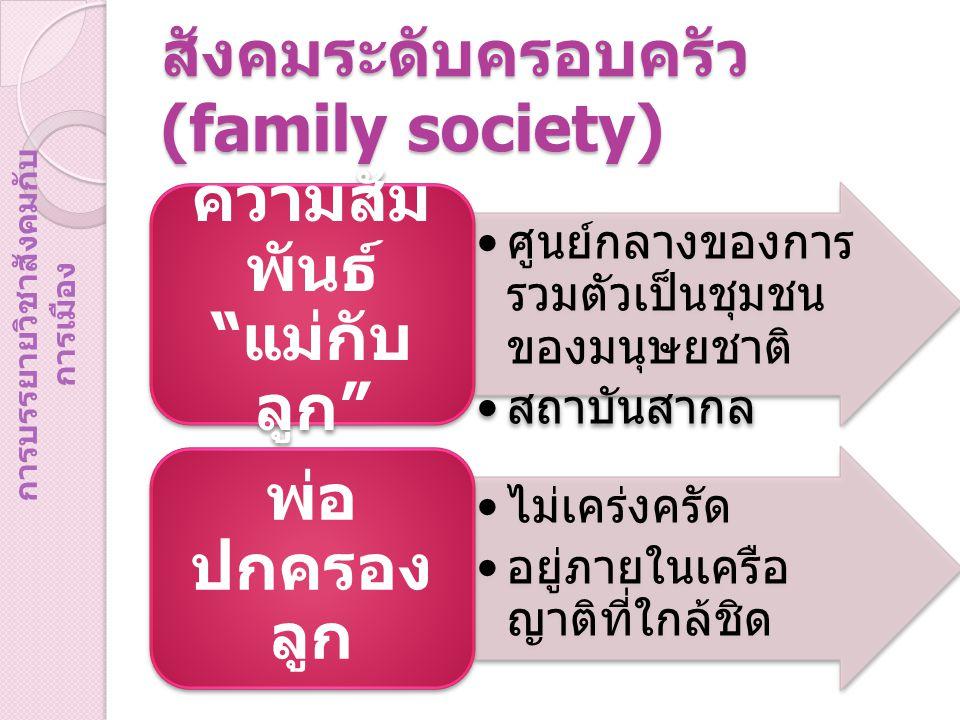 สังคมระดับครอบครัว (family society) ศูนย์กลางของการ รวมตัวเป็นชุมชน ของมนุษยชาติ สถาบันสากล ความสัม พันธ์ แม่กับ ลูก ไม่เคร่งครัด อยู่ภายในเครือ ญาติที่ใกล้ชิด พ่อ ปกครอง ลูก การบรรยายวิชาสังคมกับ การเมือง