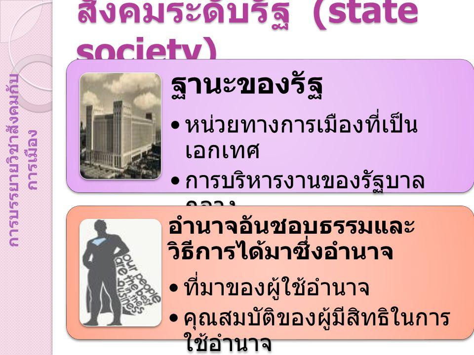 สังคมระดับรัฐ (state society) ฐานะของรัฐ หน่วยทางการเมืองที่เป็น เอกเทศ การบริหารงานของรัฐบาล กลาง อำนาจอันชอบธรรมและ วิธีการได้มาซึ่งอำนาจ ที่มาของผู