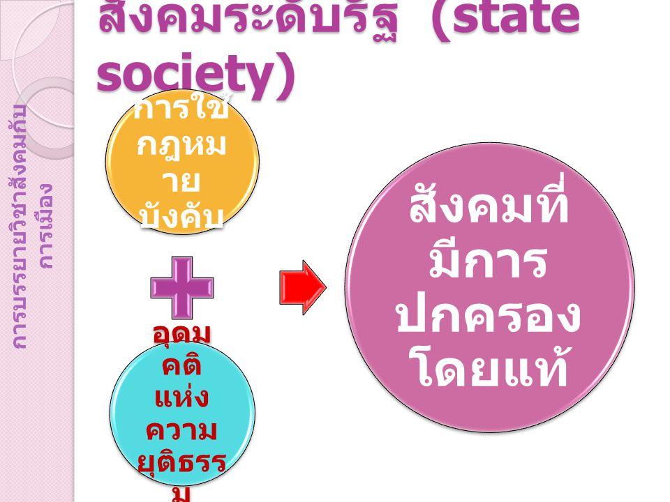 สังคมระดับรัฐ (state society) การใช้ กฎหม าย บังคับ อุดม คติ แห่ง ความ ยุติธรร ม สังคมที่ มีการ ปกครอง โดยแท้ การบรรยายวิชาสังคมกับ การเมือง