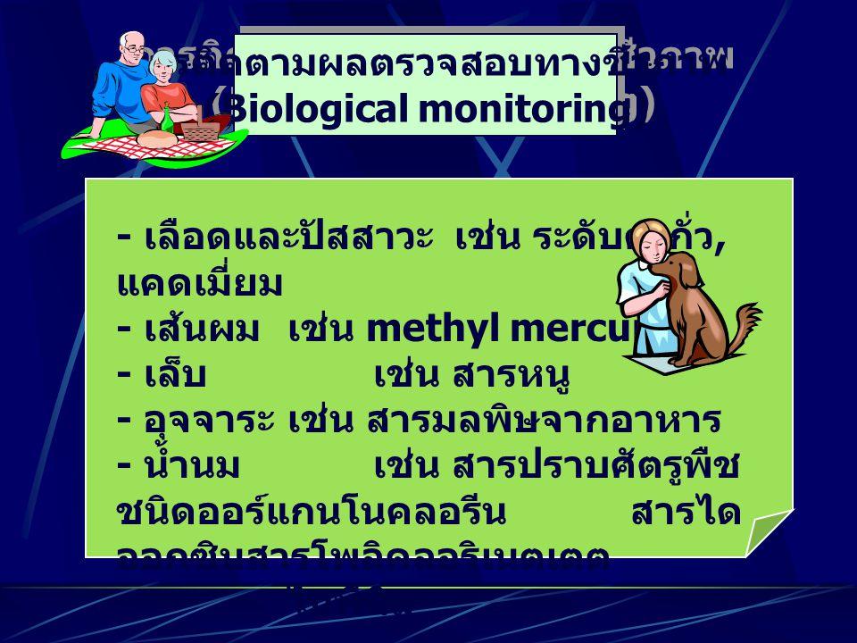 การติดตามผลตรวจสอบทางชีวภาพ (Biological monitoring) การติดตามผลตรวจสอบทางชีวภาพ (Biological monitoring) - เลือดและปัสสาวะ เช่น ระดับตะกั่ว, แคดเมี่ยม