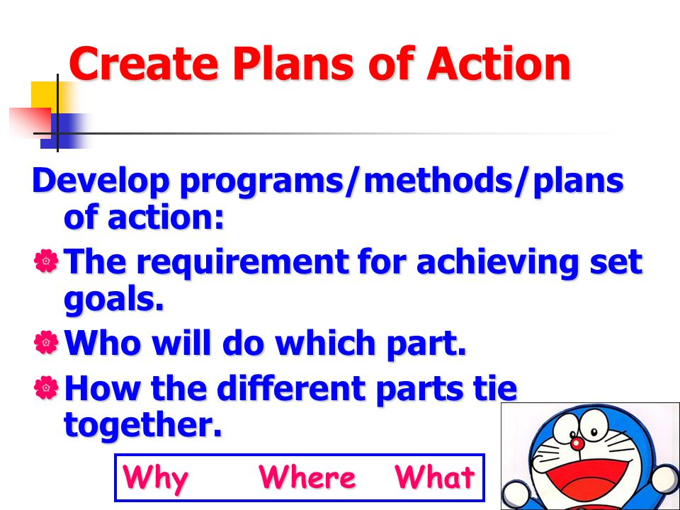 Create Plans of Action Develop programs/methods/plans of action:  The requirement for achieving set goals.