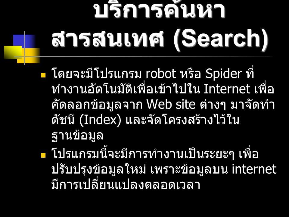 บริการค้นหา สารสนเทศ (Search) โดยจะมีโปรแกรม robot หรือ Spider ที่ ทำงานอัตโนมัติเพื่อเข้าไปใน Internet เพื่อ คัดลอกข้อมูลจาก Web site ต่างๆ มาจัดทำ ดัชนี (Index) และจัดโครงสร้างไว้ใน ฐานข้อมูล โปรแกรมนี้จะมีการทำงานเป็นระยะๆ เพื่อ ปรับปรุงข้อมูลใหม่ เพราะข้อมูลบน internet มีการเปลี่ยนแปลงตลอดเวลา