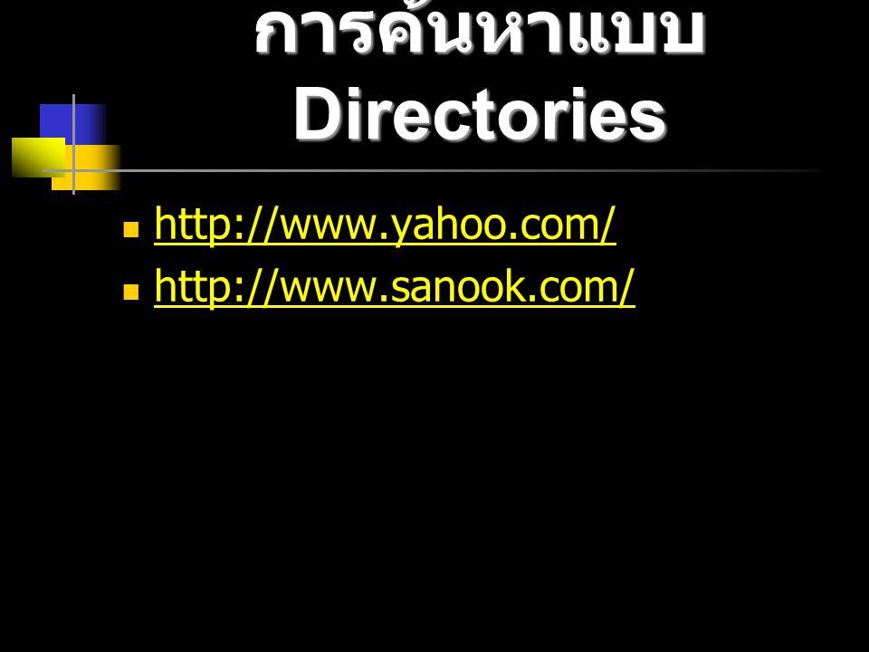 การค้นหาแบบ Directories http://www.yahoo.com/ http://www.sanook.com/ http://www.sanook.com/