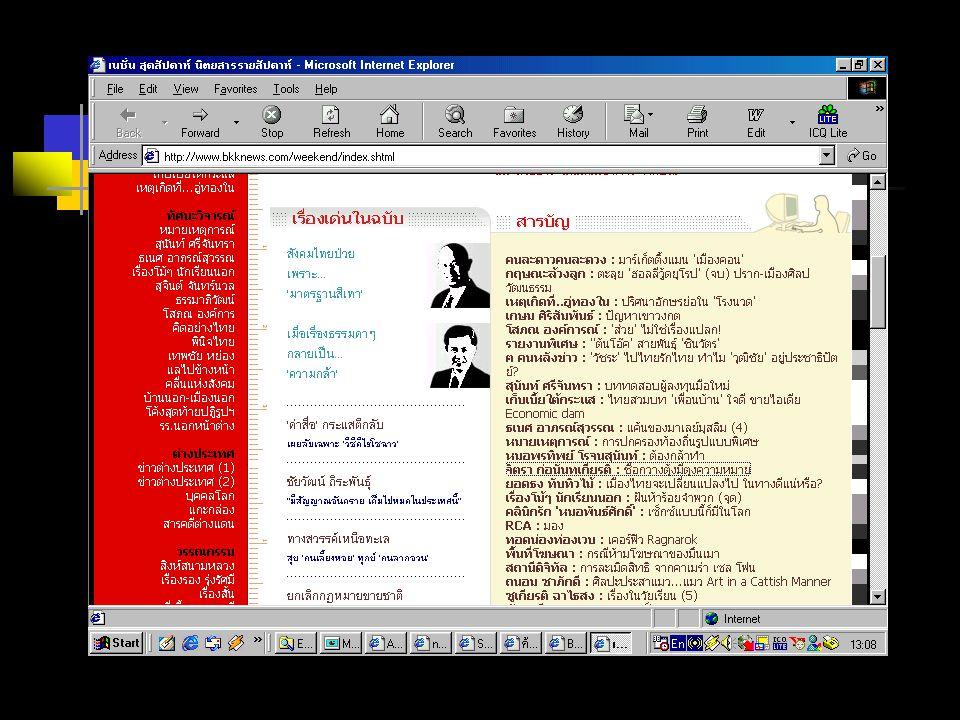 ค้นหาแบบ MetaSearch เป็นตัวกลางในการไปสืบค้นจาก Search Engine ต่างๆ ข้อดี : สามารถใช้หลายๆ วิธี มาช่วย สืบค้นข้อมูล ข้อเสีย : อาจจะได้ผลลัพธ์ที่มากเกิน ความต้องการ http://www.thaifind.com/ http://www.profusion.com/ http://metasearch.com/ http://metasearch.com/
