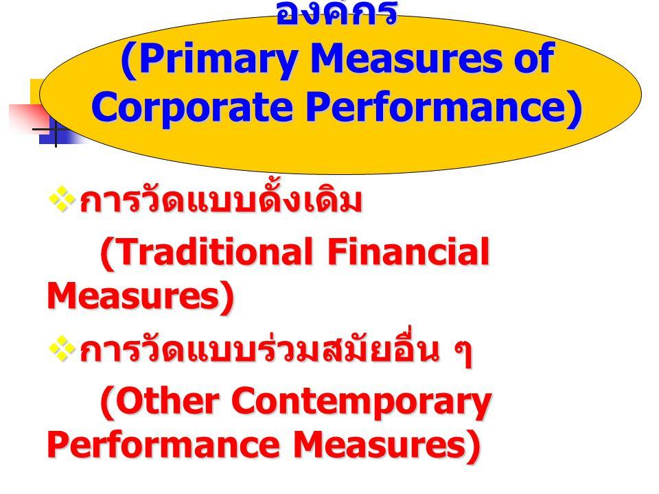 เทคนิคการวัดผลดำเนินงานของ องค์กร (Primary Measures of Corporate Performance)  การวัดแบบดั้งเดิม (Traditional Financial Measures) (Traditional Financial Measures)  การวัดแบบร่วมสมัยอื่น ๆ (Other Contemporary Performance Measures) (Other Contemporary Performance Measures)