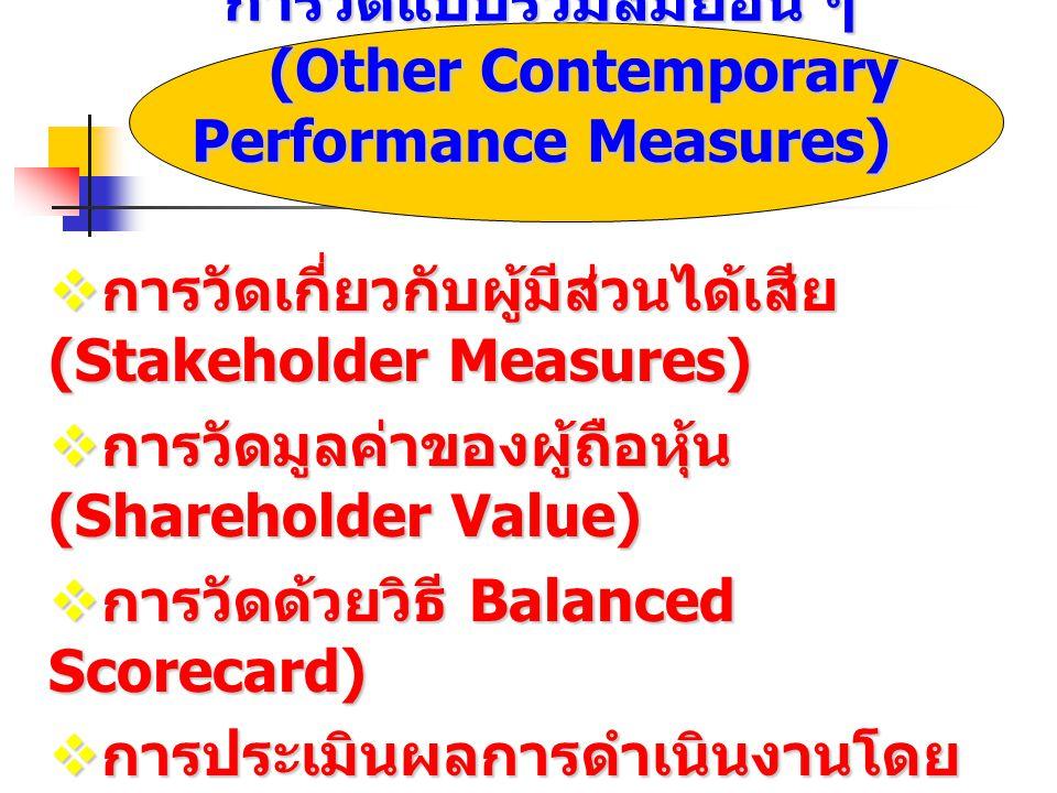 การวัดแบบร่วมสมัยอื่น ๆ (Other Contemporary Performance Measures)  การวัดเกี่ยวกับผู้มีส่วนได้เสีย (Stakeholder Measures)  การวัดมูลค่าของผู้ถือหุ้น (Shareholder Value)  การวัดด้วยวิธี Balanced Scorecard)  การประเมินผลการดำเนินงานโดย ใช้หมุดเทียบ (Benchmarking)