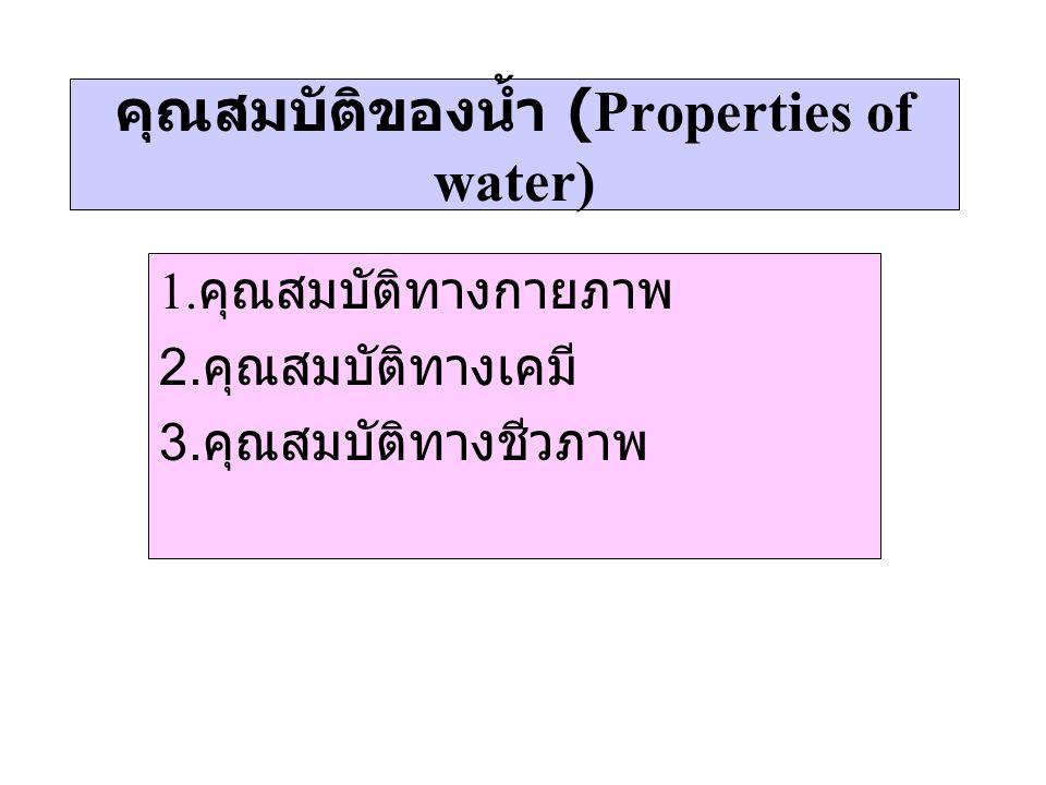 คุณสมบัติของน้ำ (Properties of water) 1. คุณสมบัติทางกายภาพ 2. คุณสมบัติทางเคมี 3. คุณสมบัติทางชีวภาพ