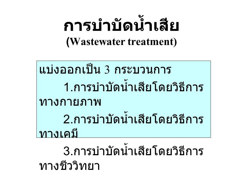 การบำบัดน้ำเสีย (Wastewater treatment) แบ่งออกเป็น 3 กระบวนการ 1. การบำบัดน้ำเสียโดยวิธีการ ทางกายภาพ 2. การบำบัดน้ำเสียโดยวิธีการ ทางเคมี 3. การบำบัด