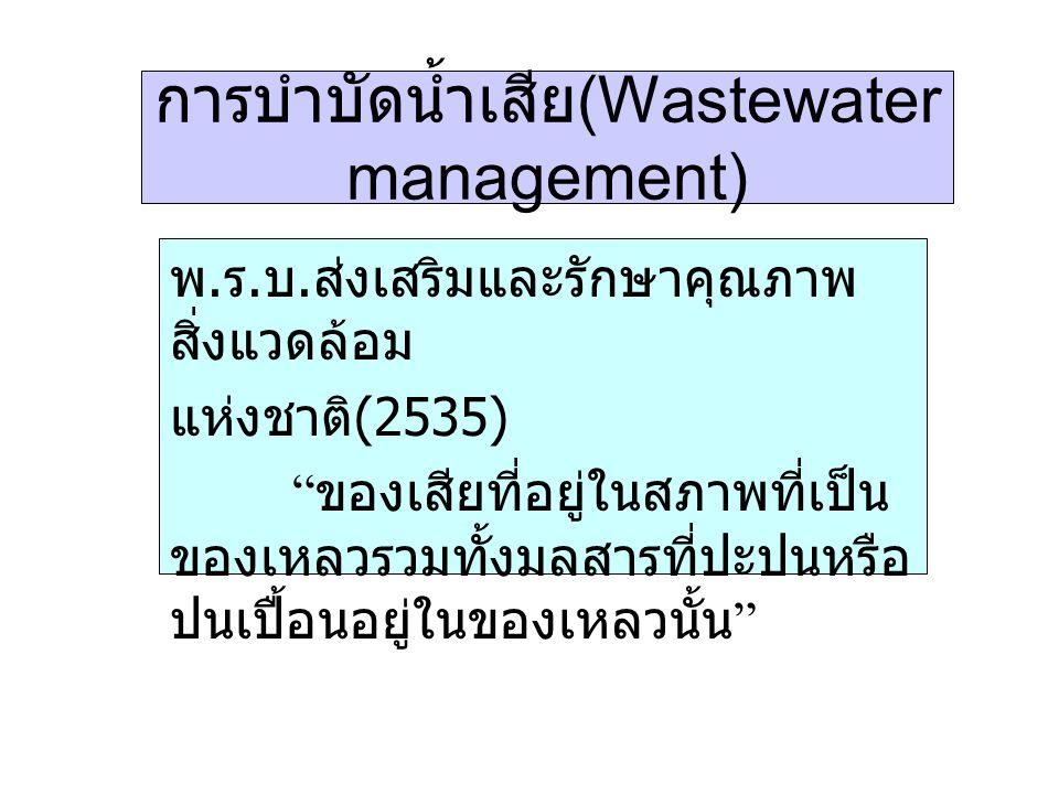 """การบำบัดน้ำเสีย (Wastewater management) พ. ร. บ. ส่งเสริมและรักษาคุณภาพ สิ่งแวดล้อม แห่งชาติ (2535) """" ของเสียที่อยู่ในสภาพที่เป็น ของเหลวรวมทั้งมลสารท"""