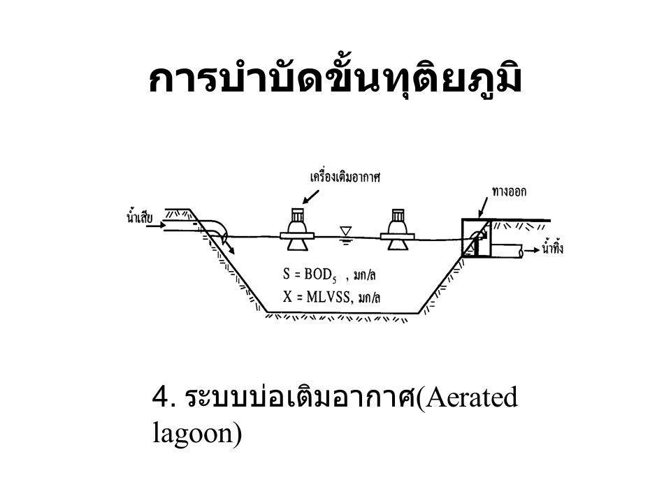 การบำบัดขั้นทุติยภูมิ 4. ระบบบ่อเติมอากาศ (Aerated lagoon)