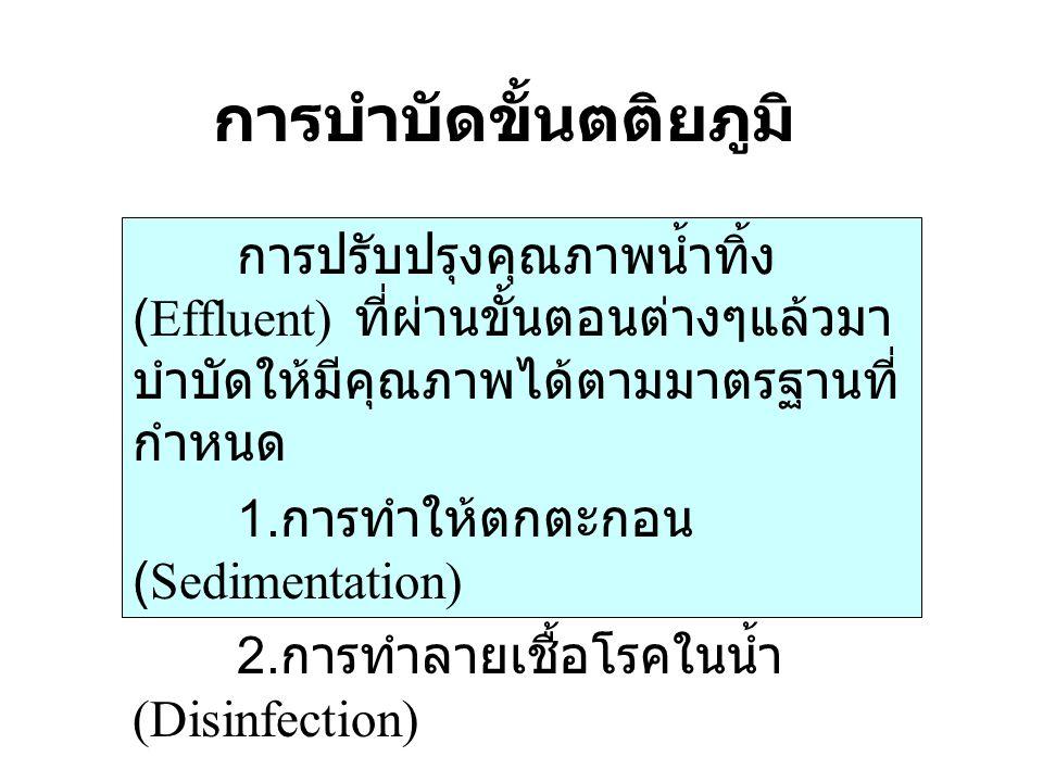 การบำบัดขั้นตติยภูมิ การปรับปรุงคุณภาพน้ำทิ้ง (Effluent) ที่ผ่านขั้นตอนต่างๆแล้วมา บำบัดให้มีคุณภาพได้ตามมาตรฐานที่ กำหนด 1. การทำให้ตกตะกอน (Sediment