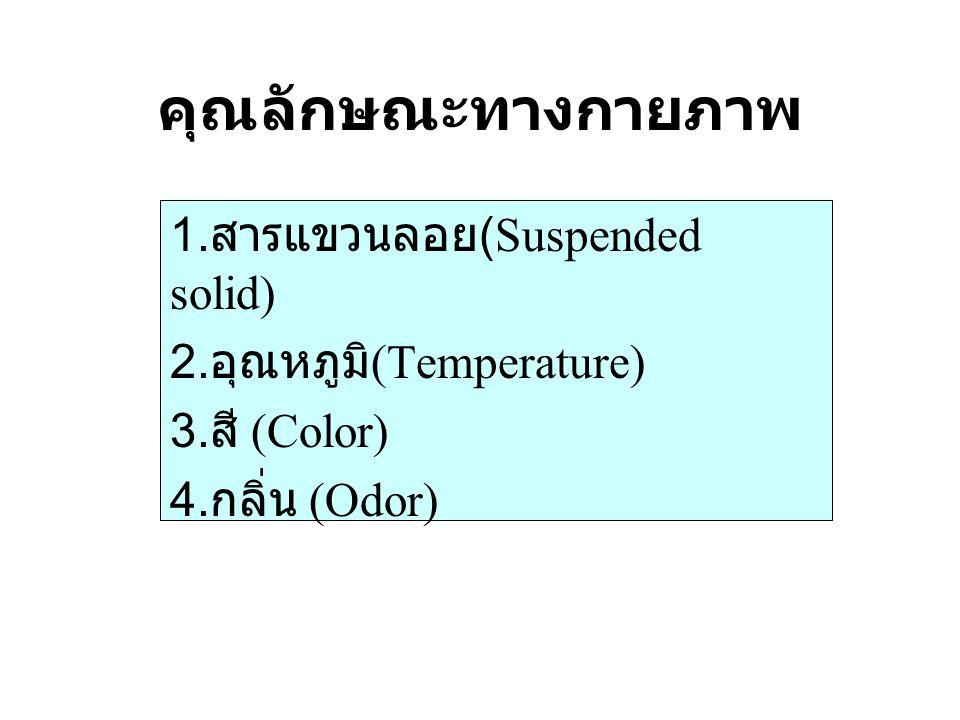 คุณลักษณะทางกายภาพ 1. สารแขวนลอย (Suspended solid) 2. อุณหภูมิ (Temperature) 3. สี (Color) 4. กลิ่น (Odor)