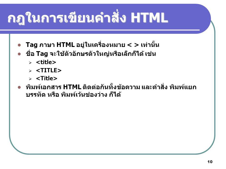 10 กฎในการเขียนคำสั่ง HTML Tag ภาษา HTML อยู่ในเครื่องหมาย เท่านั้น ชื่อ Tag จะใช้ตัวอักษรตัวใหญ่หรือเล็กก็ได้ เช่น  พิมพ์เอกสาร HTML ติดต่อกันทั้งข้