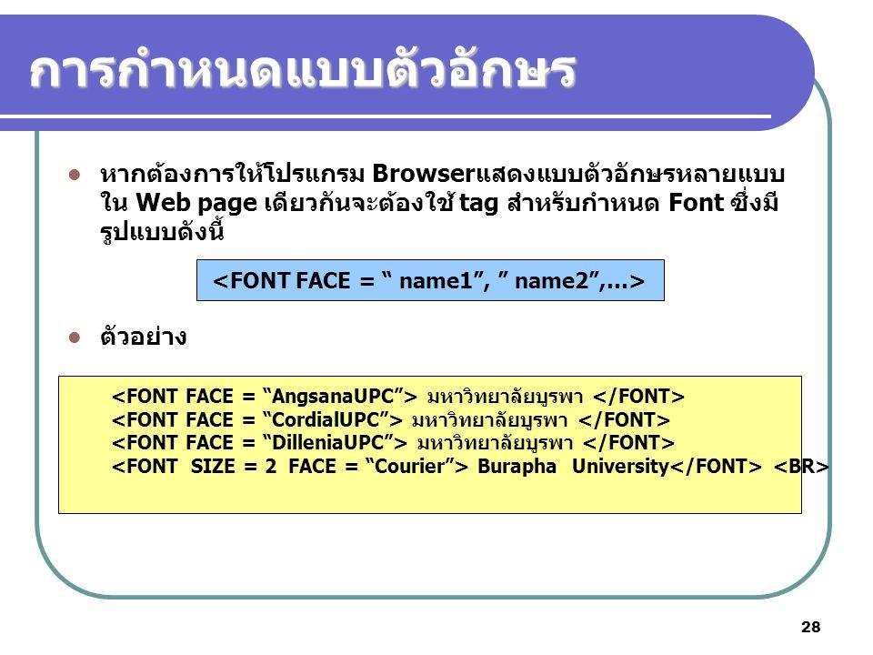 28 การกำหนดแบบตัวอักษร หากต้องการให้โปรแกรม Browserแสดงแบบตัวอักษรหลายแบบ ใน Web page เดียวกันจะต้องใช้ tag สำหรับกำหนด Font ซึ่งมี รูปแบบดังนี้ ตัวอย