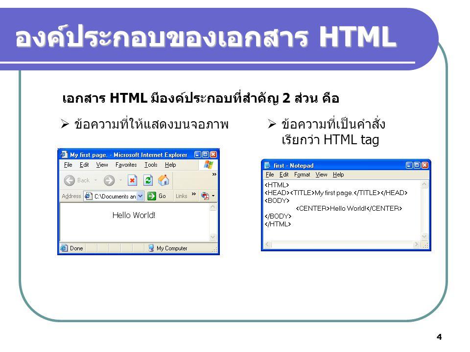 4 องค์ประกอบของเอกสาร HTML  ข้อความที่ให้แสดงบนจอภาพ  ข้อความที่เป็นคำสั่ง เรียกว่า HTML tag เอกสาร HTML มีองค์ประกอบที่สำคัญ 2 ส่วน คือ