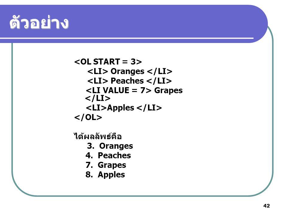42 ตัวอย่าง Oranges Peaches Grapes Apples ได้ผลลัพธ์คือ 3. Oranges 4. Peaches 7. Grapes 8. Apples