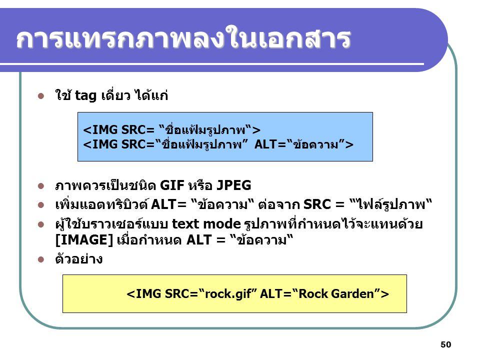 """50 การแทรกภาพลงในเอกสาร ใช้ tag เดี่ยว ได้แก่ ภาพควรเป็นชนิด GIF หรือ JPEG เพิ่มแอตทริบิวต์ ALT= """"ข้อความ"""" ต่อจาก SRC = """"ไฟล์รูปภาพ"""" ผู้ใช้บราวเซอร์แบ"""