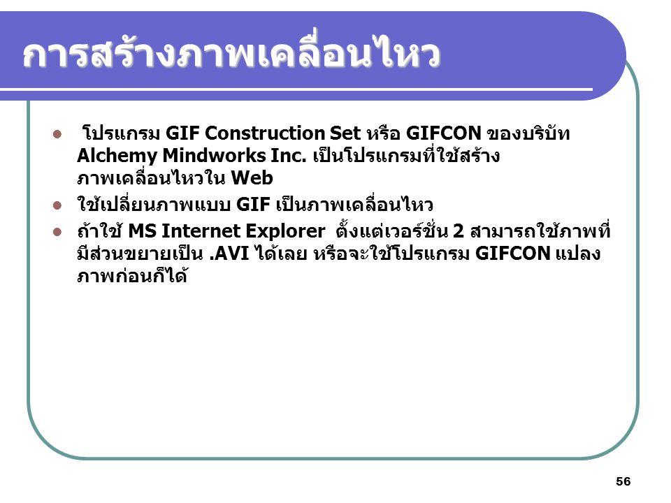 56 การสร้างภาพเคลื่อนไหว โปรแกรม GIF Construction Set หรือ GIFCON ของบริบัท Alchemy Mindworks Inc. เป็นโปรแกรมที่ใช้สร้าง ภาพเคลื่อนไหวใน Web ใช้เปลี่