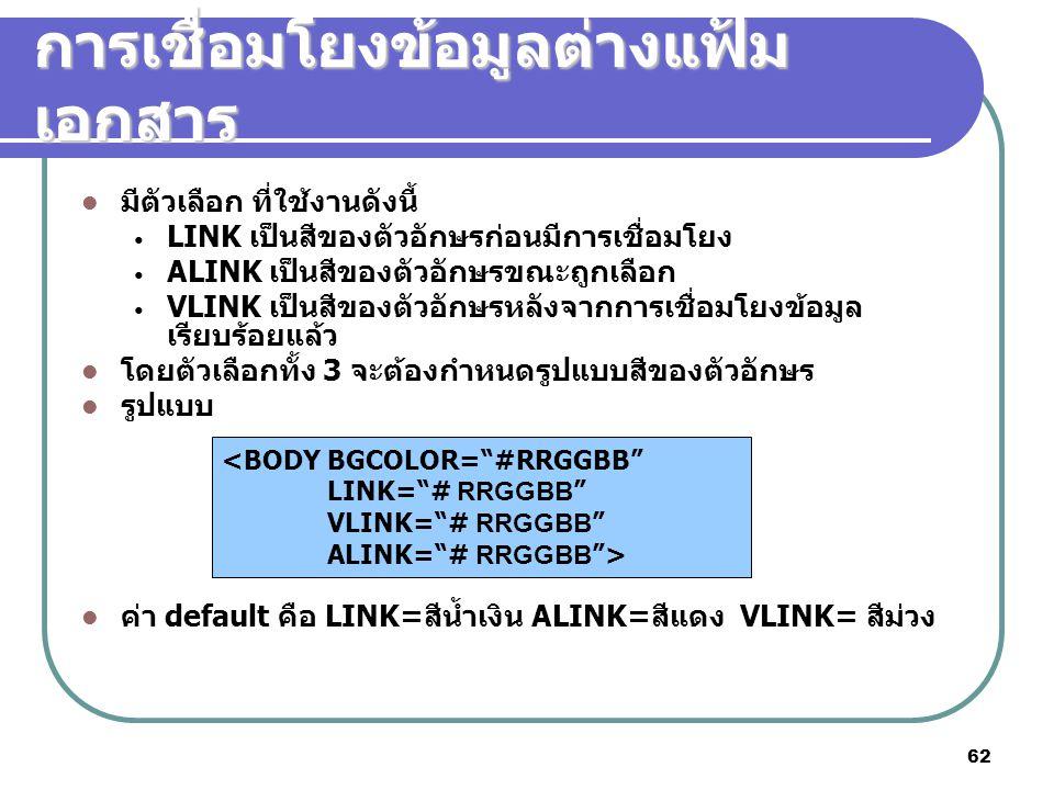 62 การเชื่อมโยงข้อมูลต่างแฟ้ม เอกสาร มีตัวเลือก ที่ใช้งานดังนี้ LINK เป็นสีของตัวอักษรก่อนมีการเชื่อมโยง ALINK เป็นสีของตัวอักษรขณะถูกเลือก VLINK เป็น