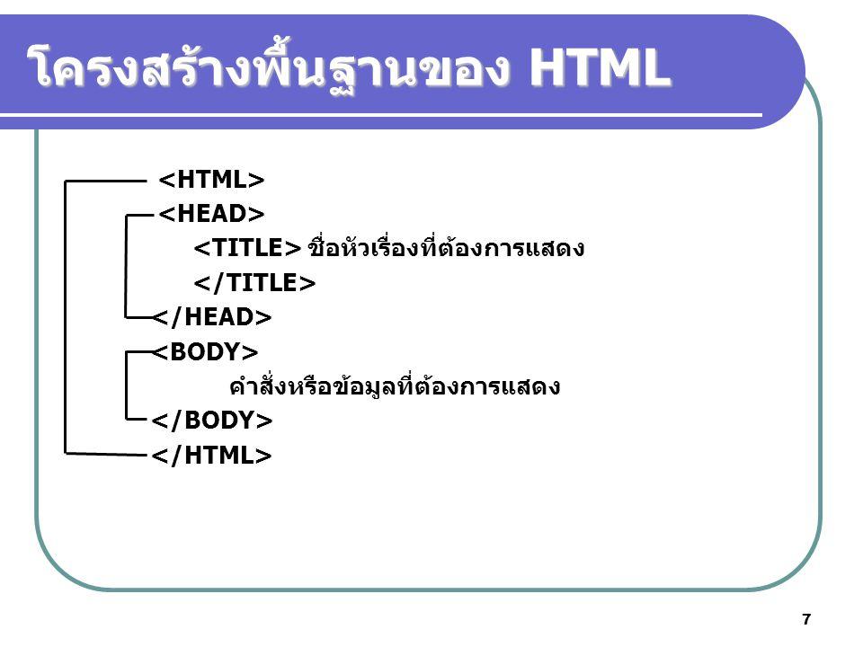 7 โครงสร้างพื้นฐานของ HTML ชื่อหัวเรื่องที่ต้องการแสดง คำสั่งหรือข้อมูลที่ต้องการแสดง