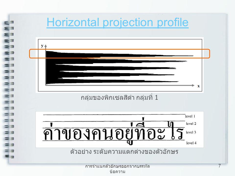 การจำแนกตัวอักษรออกจากบรรทัด ข้อความ 7 Horizontal projection profile กลุ่มของพิกเซลสีดำ กลุ่มที่ 1 ตัวอย่าง ระดับความแตกต่างของตัวอักษร