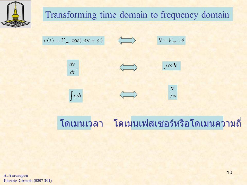 10 A. Aurasopon Electric Circuits (0307 201) Transforming time domain to frequency domain โดเมนเวลาโดเมนเฟสเซอร์หรือโดเมนความถี่