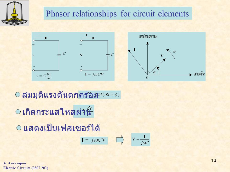 13 A. Aurasopon Electric Circuits (0307 201) Phasor relationships for circuit elements สมมุติแรงดันตกคร่อม เกิดกระแสไหลผ่าน แสดงเป็นเฟสเซอร์ได้