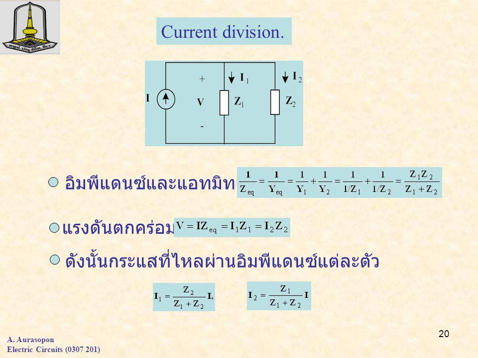 20 A. Aurasopon Electric Circuits (0307 201) Current division. แรงดันตกคร่อมวงจร ดังนั้นกระแสที่ไหลผ่านอิมพีแดนซ์แต่ละตัว อิมพีแดนซ์และแอทมิทแตนซ์รวม