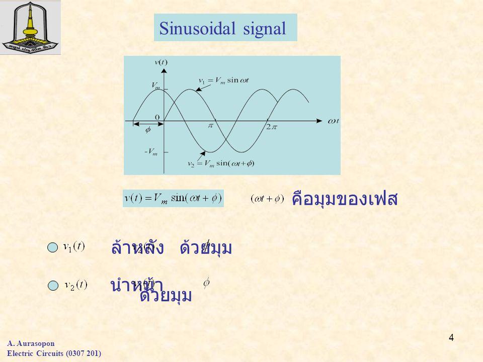 4 A. Aurasopon Electric Circuits (0307 201) Sinusoidal signal คือมุมของเฟส ล้าหลัง ด้วยมุม นำหน้า ด้วยมุม
