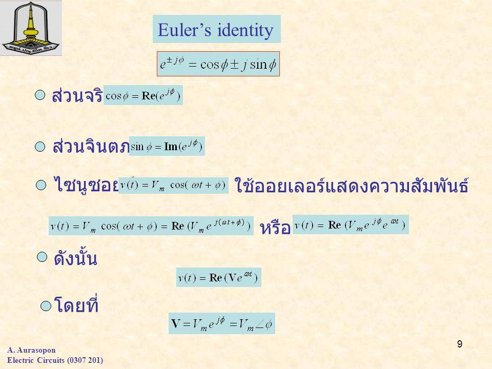 9 A. Aurasopon Electric Circuits (0307 201) ดังนั้น ส่วนจริง Euler's identity ส่วนจินตภาพ ไซนูซอยด์ ใช้ออยเลอร์แสดงความสัมพันธ์ หรือ โดยที่