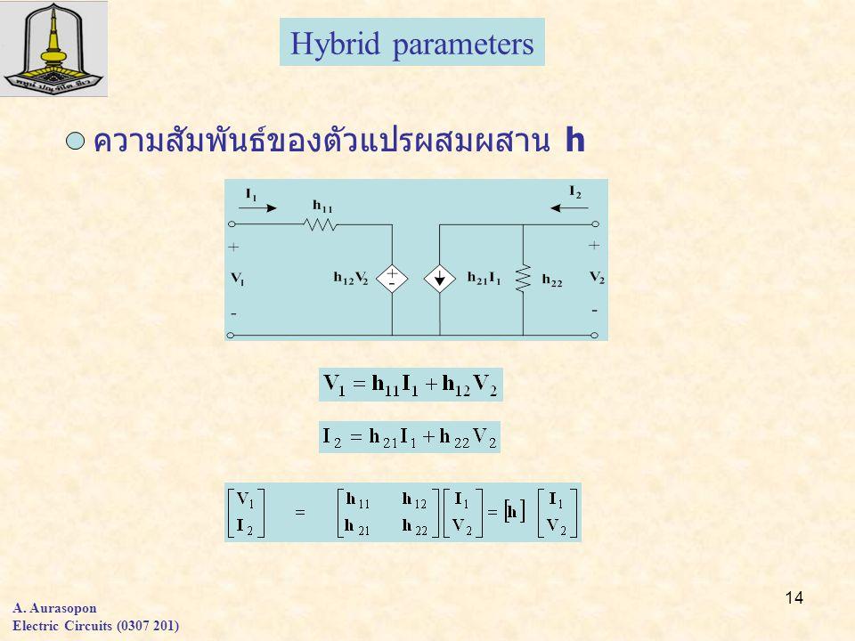 14 A. Aurasopon Electric Circuits (0307 201) Hybrid parameters ความสัมพันธ์ของตัวแปรผสมผสาน h