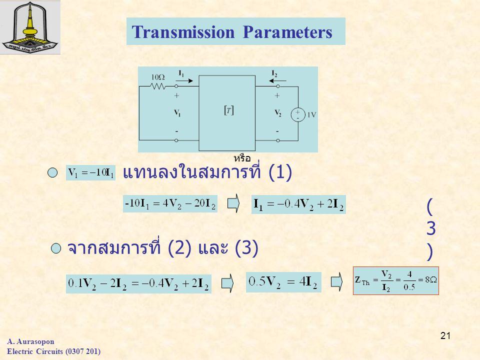 21 Transmission Parameters แทนลงในสมการที่ (1) หรือ จากสมการที่ (2) และ (3) (3)(3) A.