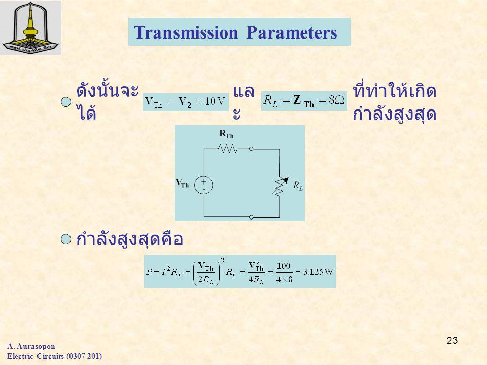 23 Transmission Parameters ดังนั้นจะ ได้ กำลังสูงสุดคือ แล ะ ที่ทำให้เกิด กำลังสูงสุด A.
