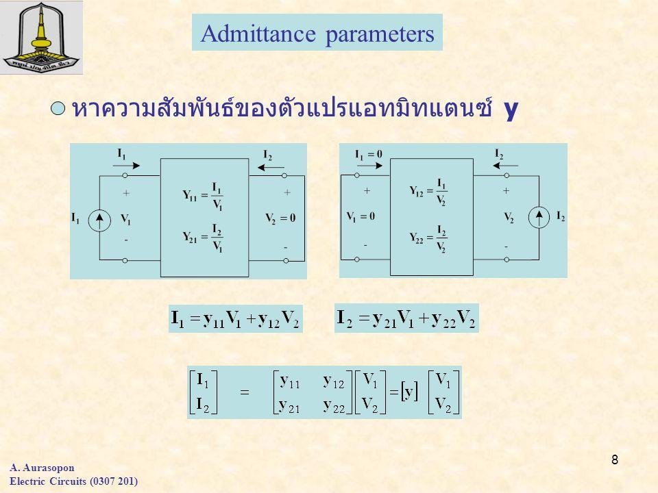 8 A. Aurasopon Electric Circuits (0307 201) Admittance parameters หาความสัมพันธ์ของตัวแปรแอทมิทแตนซ์ y