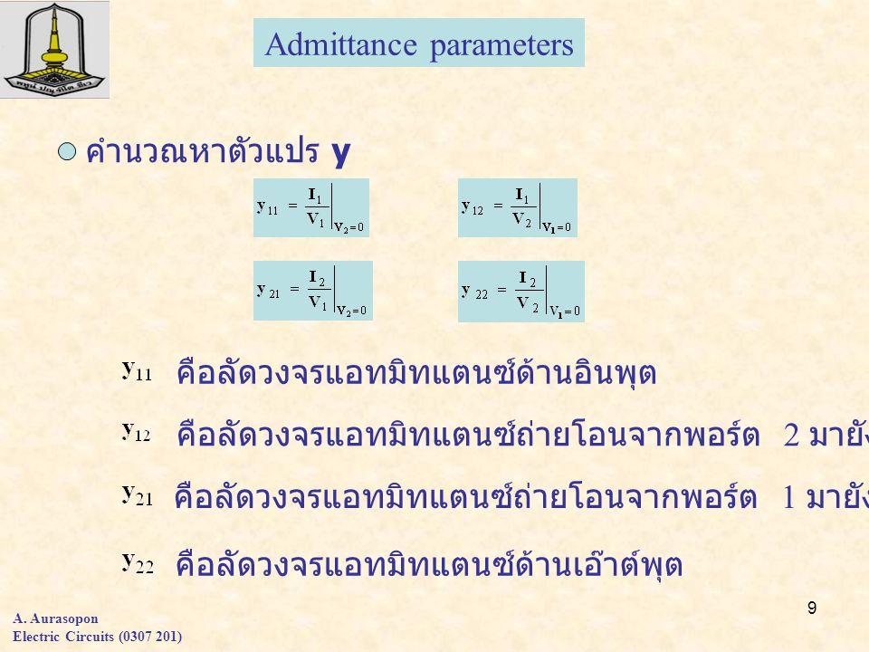 9 A. Aurasopon Electric Circuits (0307 201) Admittance parameters คำนวณหาตัวแปร y คือลัดวงจรแอทมิทแตนซ์ด้านอินพุต คือลัดวงจรแอทมิทแตนซ์ถ่ายโอนจากพอร์ต