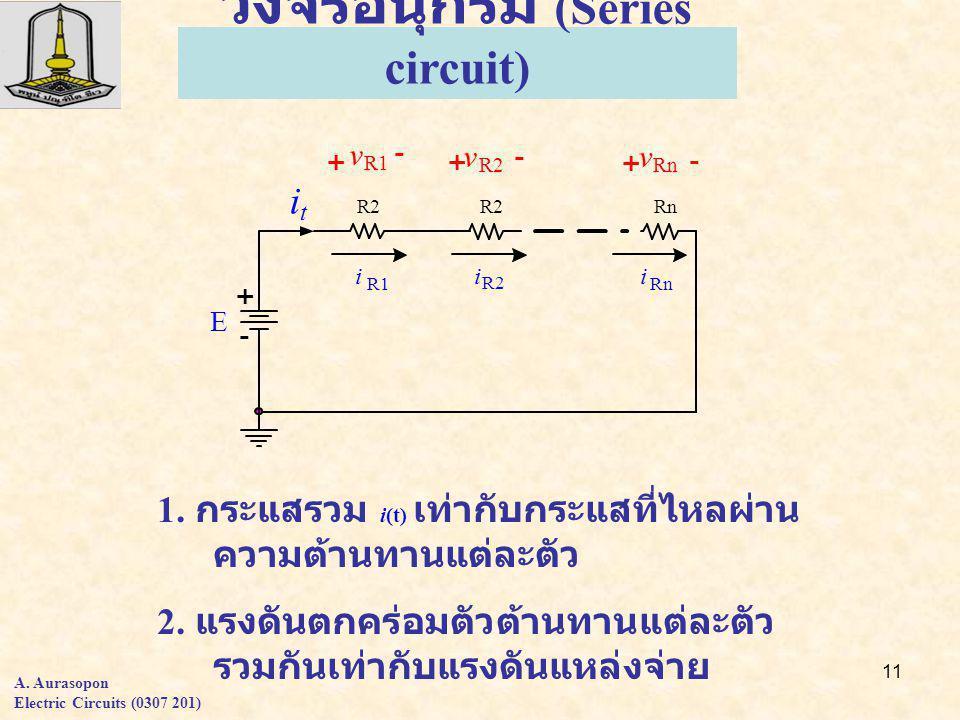 11 วงจรอนุกรม (Series circuit) 1. กระแสรวม i(t) เท่ากับกระแสที่ไหลผ่าน ความต้านทานแต่ละตัว 2.
