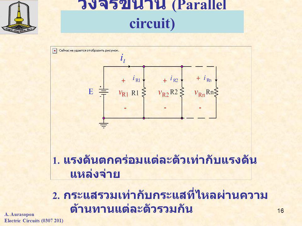 16 วงจรขนาน (Parallel circuit) 1. แรงดันตกคร่อมแต่ละตัวเท่ากับแรงดัน แหล่งจ่าย 2.