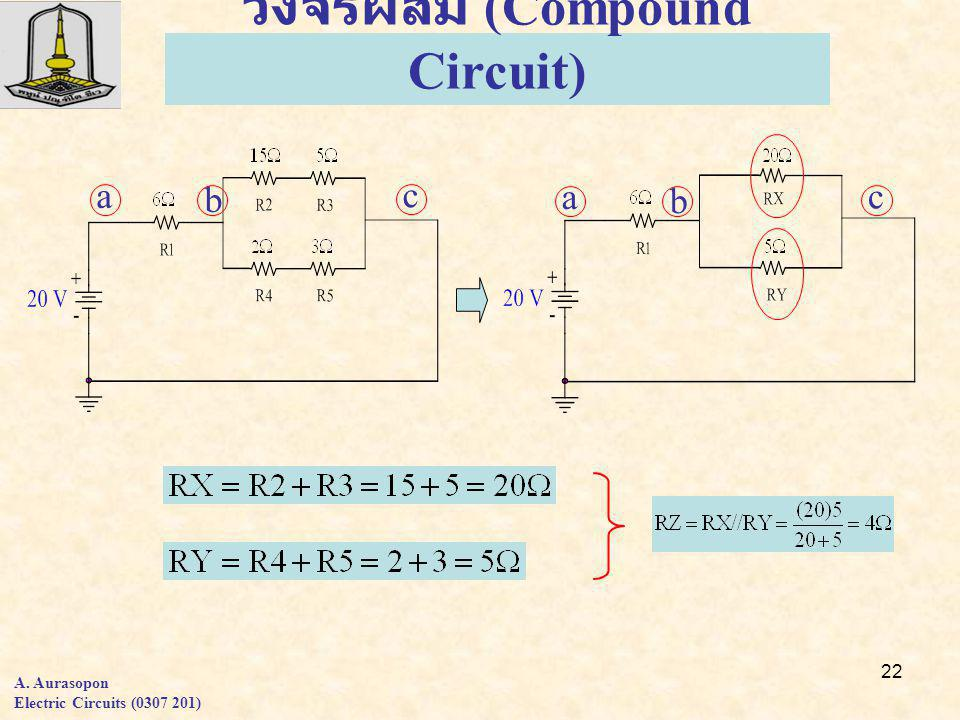 22 วงจรผสม (Compound Circuit) a b c A. Aurasopon Electric Circuits (0307 201) a b c