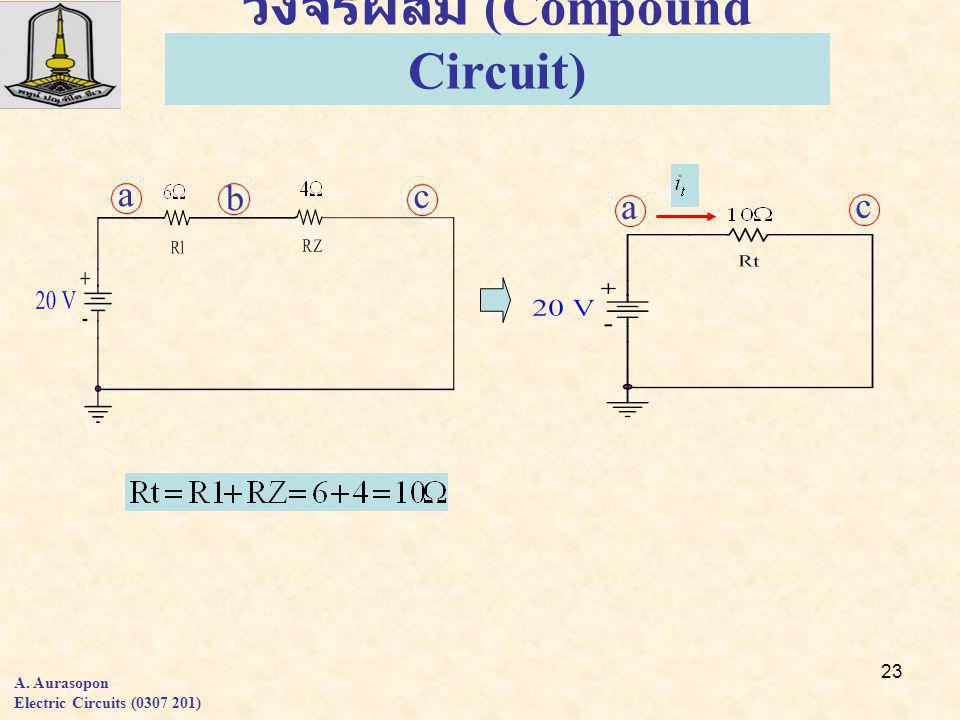 23 a b c a c วงจรผสม (Compound Circuit) A. Aurasopon Electric Circuits (0307 201)