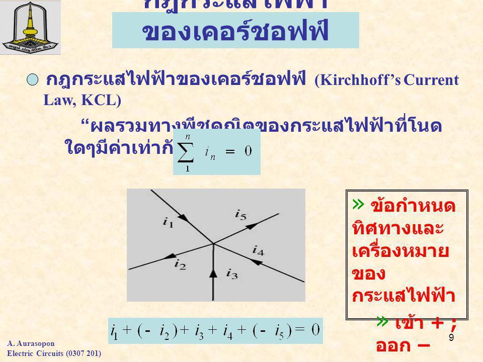 9 กฎกระแสไฟฟ้า ของเคอร์ชอฟฟ์ » ข้อกำหนด ทิศทางและ เครื่องหมาย ของ กระแสไฟฟ้า » เข้า + ; ออก – » เข้า - ; ออก + กฎกระแสไฟฟ้าของเคอร์ชอฟฟ์ (Kirchhoff's Current Law, KCL) ผลรวมทางพีชคณิตของกระแสไฟฟ้าที่โนด ใดๆมีค่าเท่ากับศูนย์ A.