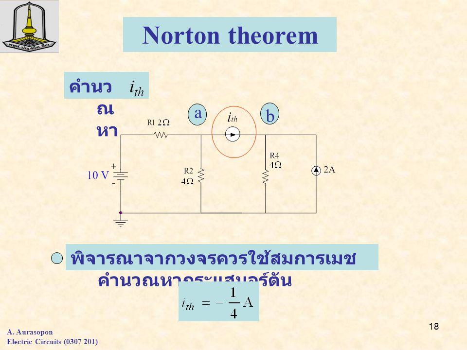 18 Norton theorem i th คำนว ณ หา a b พิจารณาจากวงจรควรใช้สมการเมช คำนวณหากระแสนอร์ตัน A.