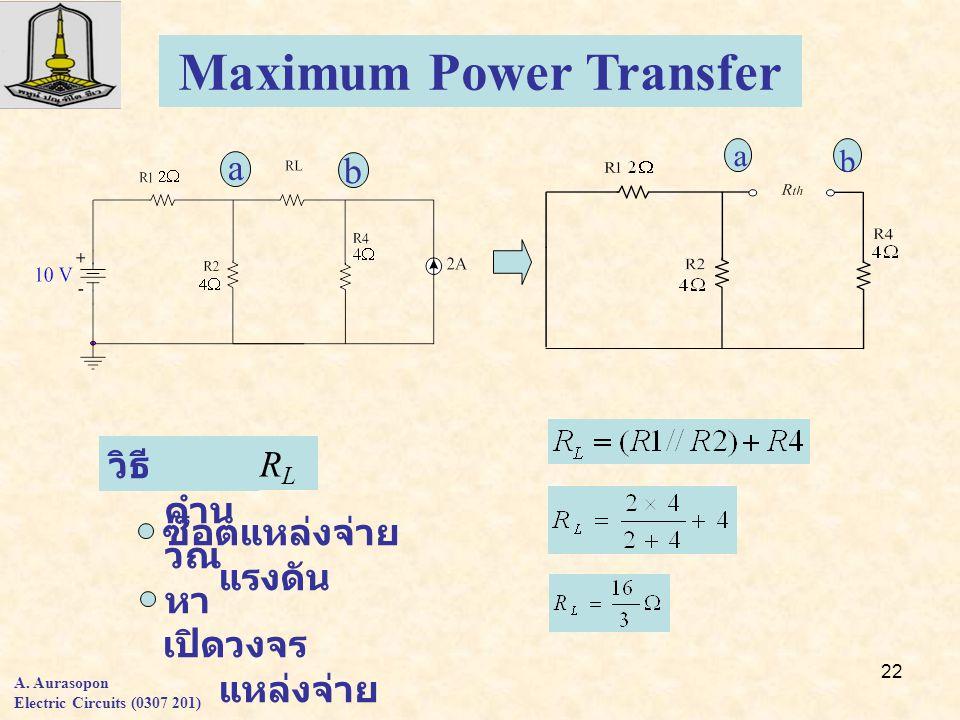22 Maximum Power Transfer a b RLRL วิธี คำน วณ หา ซ็อตแหล่งจ่าย แรงดัน เปิดวงจร แหล่งจ่าย กระแส a b A.